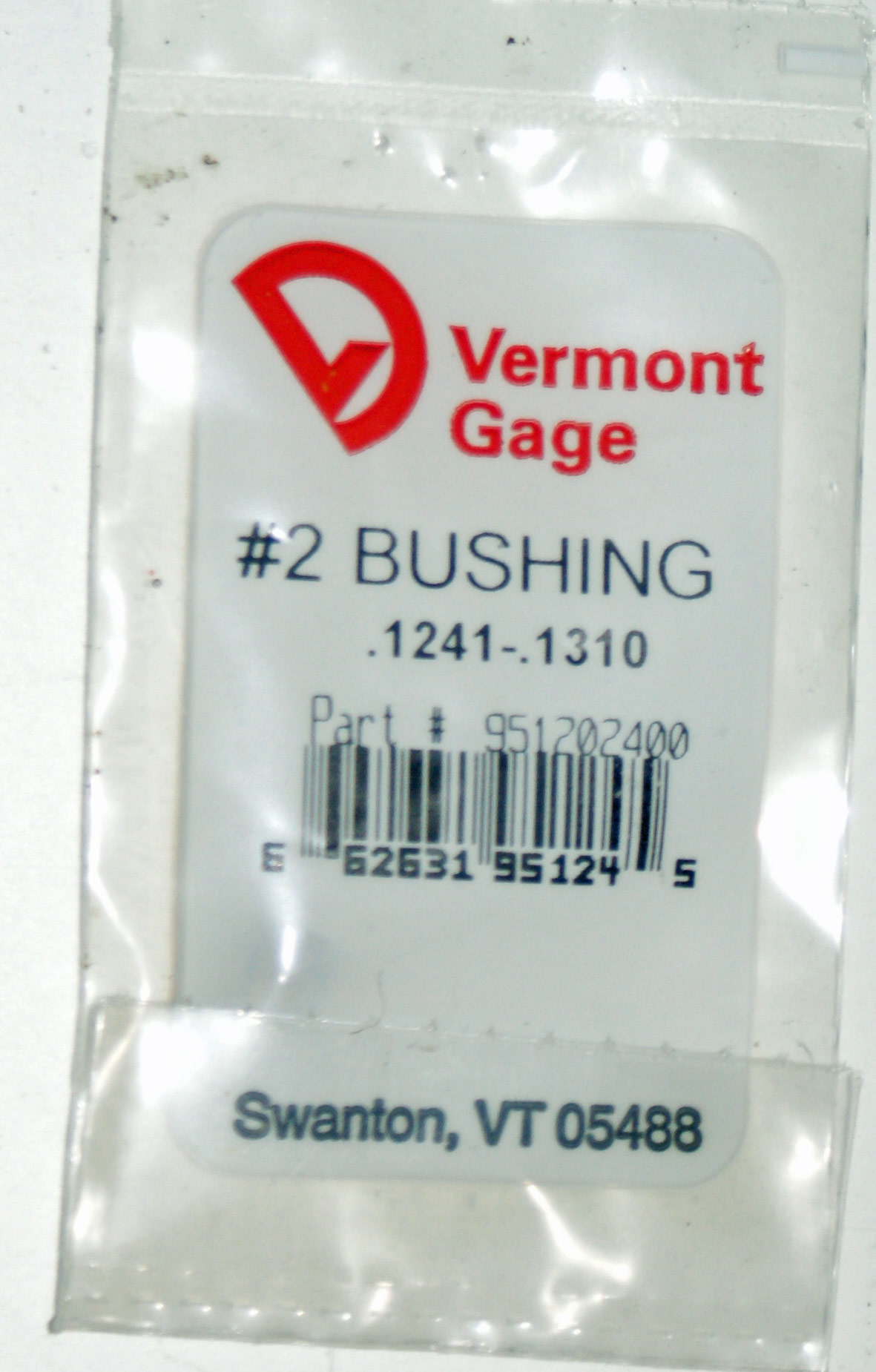 "Vermont Gage .1241 - .1310"" #2 Bushing / Collet Pin"