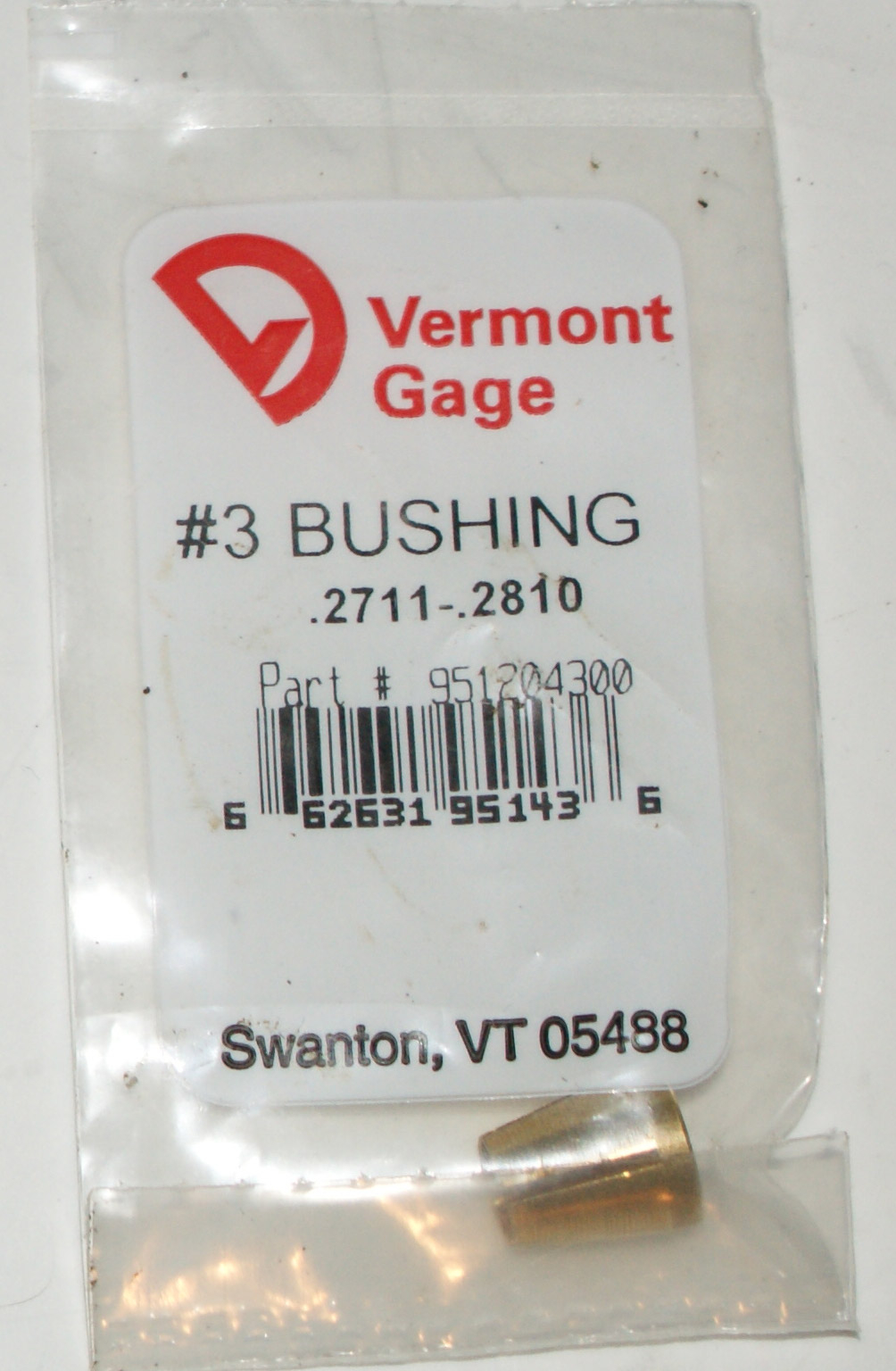 "Vermont Gage .2711-.2810"" #3 Bushing / Collet Pin"