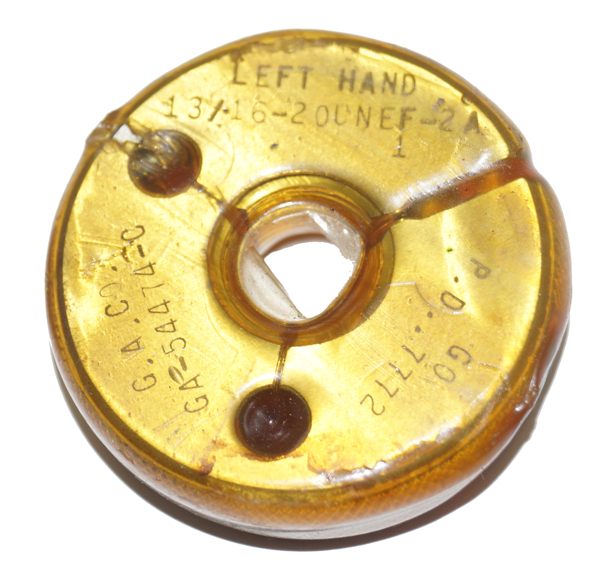 13/16-20UNEF-2A Left Hand LH Thread Ring Gage Go PD: .7772