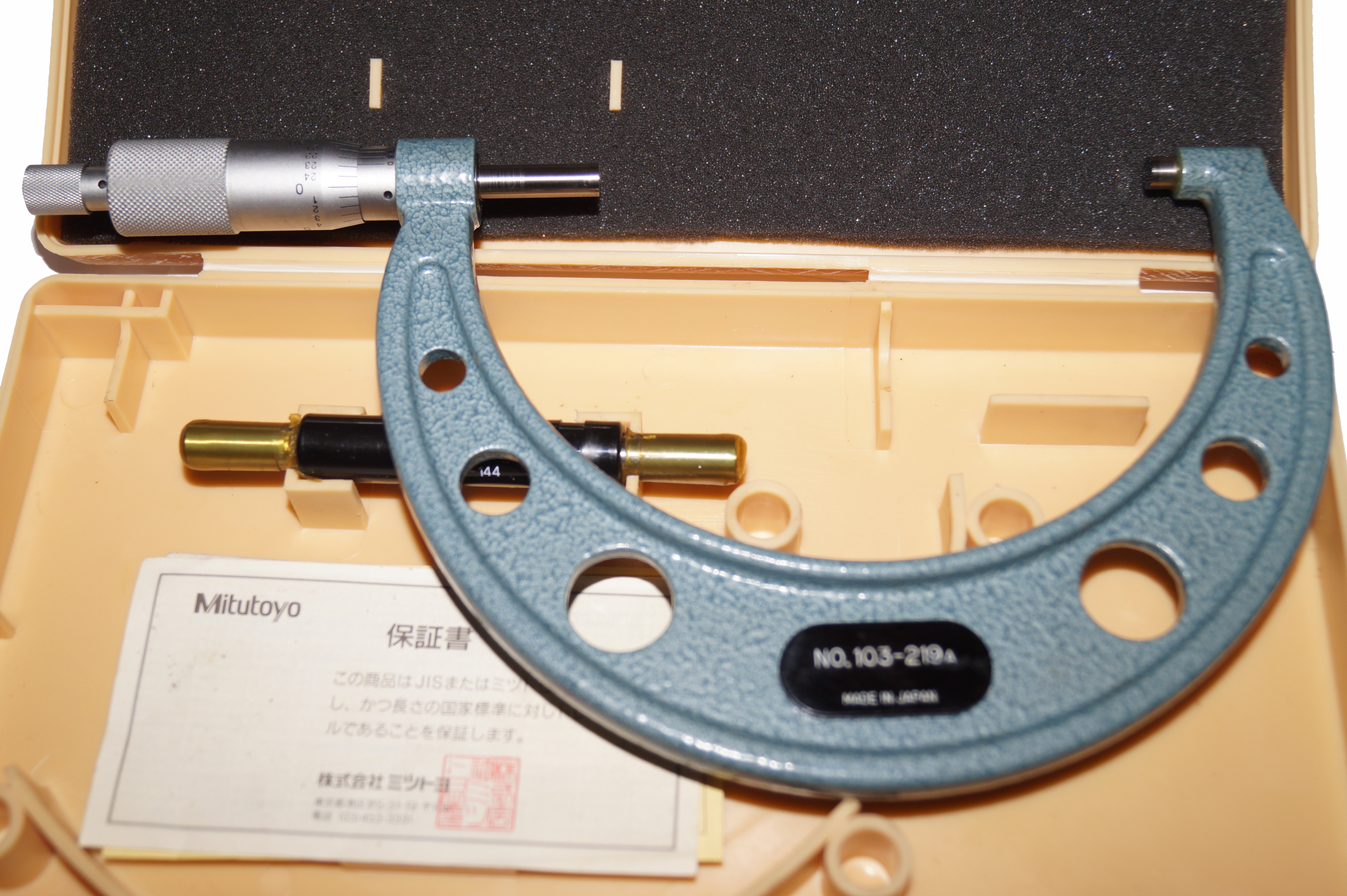 "Mitutoyo 4-5"" Micrometer with Standard, Wrench, Case Very Clean 103-219A"