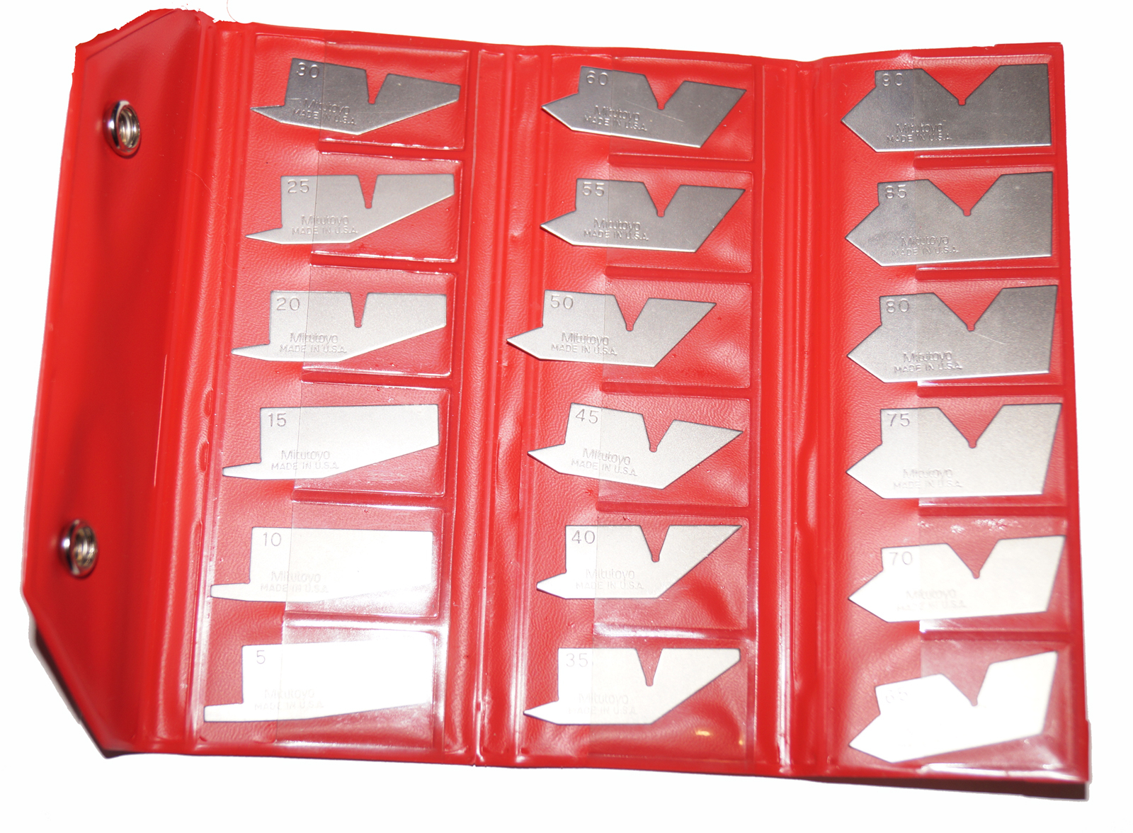 Mitutoyo 18 Piece Stainless Steel Angle Gage Set 186-910