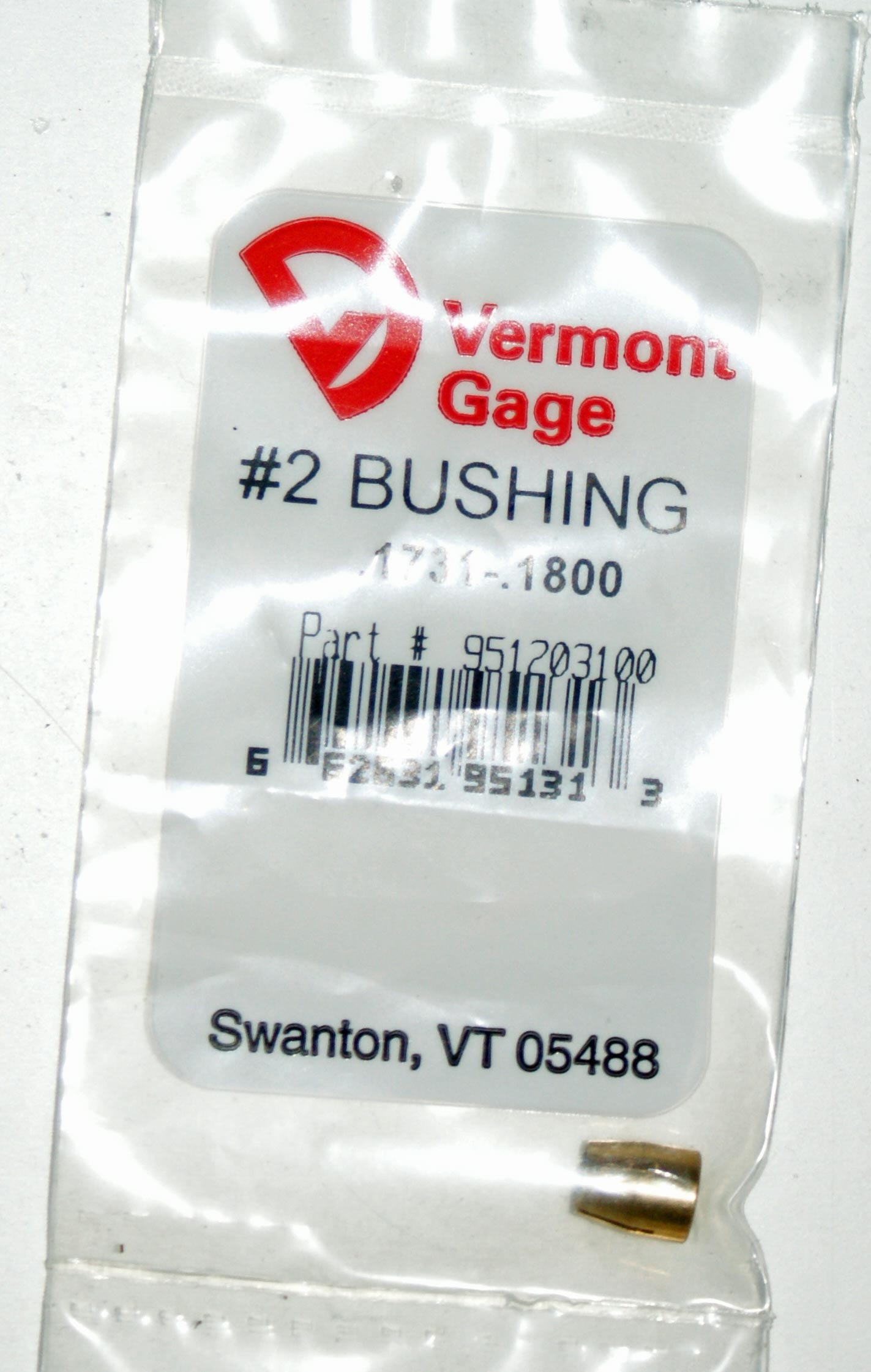 "Vermont Gage .1731 - .1800"" #2 Bushing / Collet Pin"